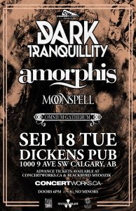 AMORPHIS – Dickens Pub – Tuesday September, 18