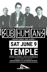 The Subhumans – Temple – Sat June 9