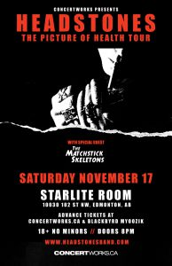 The Headstones – Starlite Room – Sat Nov 17