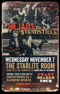 The Lazys – Starlite Room – Wed Nov 07