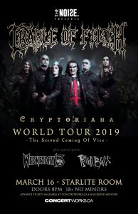 Cradle of Filth – Starlite Room Edmonton – March 16