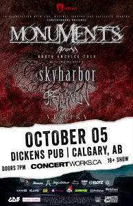 Monuments – Dickens Pub Calgary – October 05