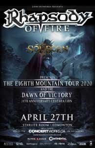 Rhapsody of Fire – Starlite Room Edmonton AB –  April 27th